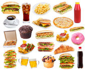 Set with fast food products — Stock fotografie