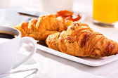 Breakfast with croissants — Stock Photo