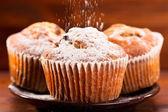 糖粉的松饼 — 图库照片
