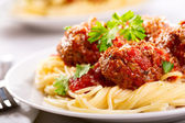 Pasta with meatballs and parsley — Stok fotoğraf