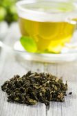 Dried green tea — Stock Photo