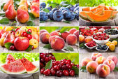 Collage with fruits and berries — Stock Photo