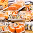 Collage of sushi and sashimi — Stock Photo