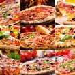Pizza-collage — Stockfoto