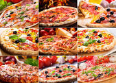 Pizza collage — Stock Photo