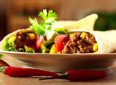 Tortilla wraps with meat — Stock Photo