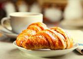 Breakfast with croissants — Stock Photo