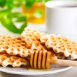 Waffles with honey — Stock Photo #23746287