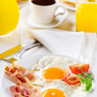 Stock Photo: Breakfast with fried eggs