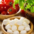 Mozzarella with tomatoes and green basil — Stock Photo