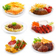 Stock Photo: Plates of various meat and chicken