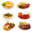 Plates of various meat and chicken — Stock Photo #34207231