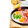 Pan of fried eggs — Stock Photo