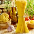 Raw pasta with vegetables — Stock Photo