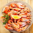 Plate of shrimps — Stock Photo