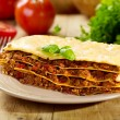 Plate of lasagna — Stockfoto