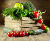 Fresh vegetables and herbs — Stock Photo