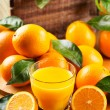 Glass of orange juice with fresh fruits — Stock Photo #38715033