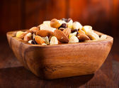 Bowl of mix nuts and dried fruits — Stock Photo