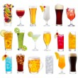 Set of various drinks, cocktails and beer — Stock Photo