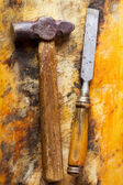 Old hammer and chisel  — Foto Stock