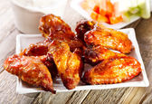 Plate of chicken wings — Stock Photo