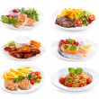 Plates of various meat, fish and chicken — Stock Photo #48076537