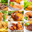 Various meals with meat, fish and chicken — Stock Photo