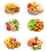Plates of various meat, fish and chicken — Stock Photo