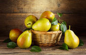 Still life with fresh pears  — Stok fotoğraf