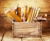 Old tools in a wooden box — Foto Stock