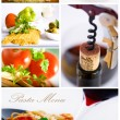 Wine and pasta collage - Stock Photo