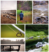 Fishing collage — Stock Photo