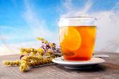 чай и голубое небо — Стоковое фото