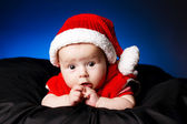 Little cute baby with santa hat — Stock Photo