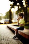 Little boy playing with bubbles — Foto de Stock