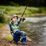 Photo of little boy fishing — Stock Photo #17467725