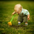 Stock Photo: Little helper with shovel