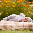 Little sweet sleeping baby outdoors — Stock Photo