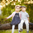 Boy kissed girl - Stock Photo