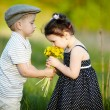 Stock Photo: Cute boy and girl on summer field