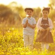 Cute boy and girl on summer field — Stock Photo #19539803