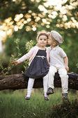 Boy kissing a girl — Stock Photo
