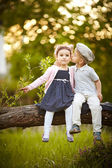 Boy kissed girl — Stock Photo