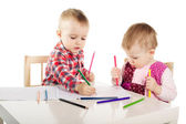 Boy and girl draw with pencils — Stock Photo