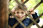 Little funny boy behind the fence — Stock Photo