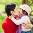 Mother and daughter kissing — Stock Photo
