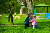Boy and girl on a playground — Stock Photo
