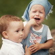 Little boy and crying girl — Stock Photo