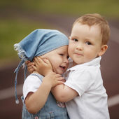 Little happy boy and girl — Stock Photo
